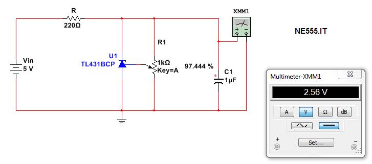 NE555 Voltage Trimmer TL431 tensione schema Riferimento References Calcolo