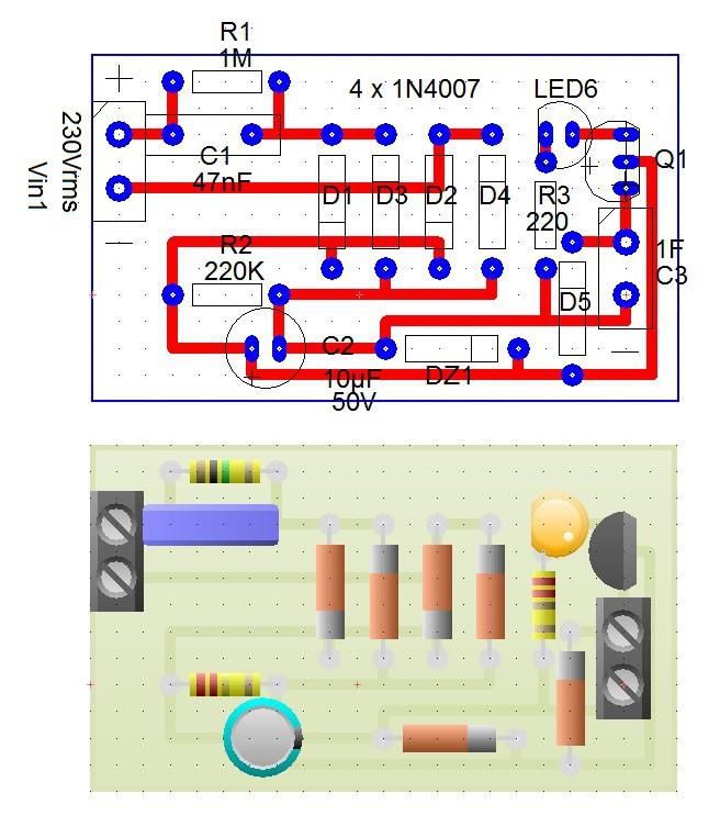 NE555 supercapacitore semplice schema punto luce led lampada emergenza