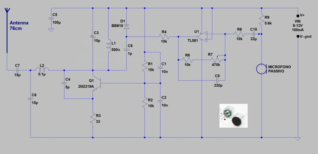NE555 watt VARICAP TRASMETTITORE schema Potenza modulazione Modulato frequenza FM DIODO 88MHz 1W 108MHz