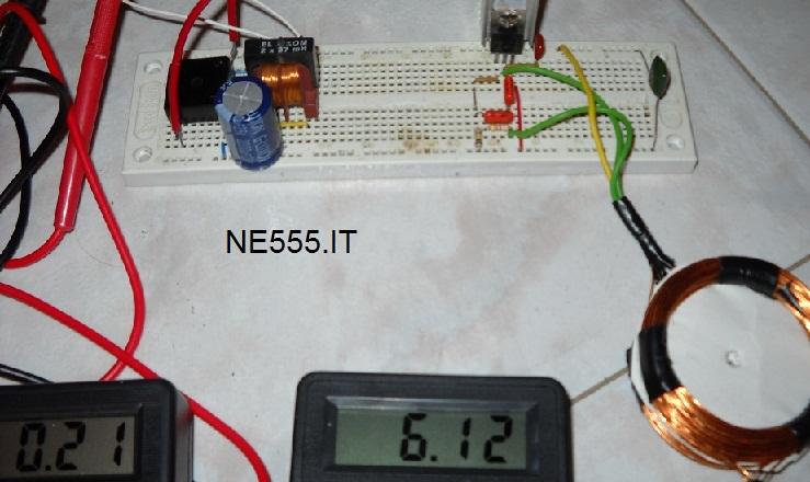 Alimentatore Wireless trasmittente e ricevente test