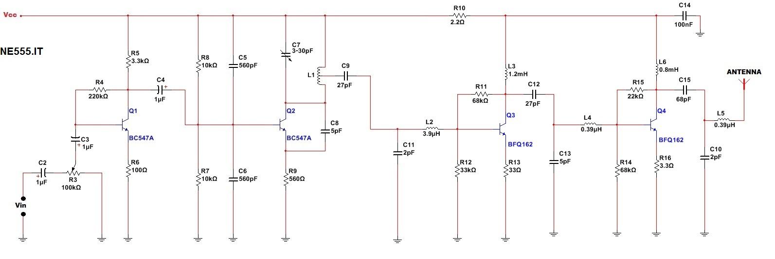 Trasmettitore fm 5W schema completo
