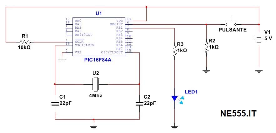 Accensione led con pulsante schema