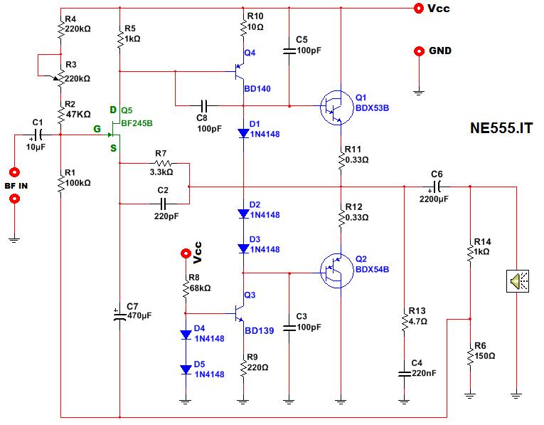 Schemi Elettrici Amplificatori Audio Con N : Amplificatore a transistor da watt ne