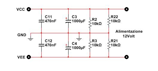 schema alimentatore duale compressore audio