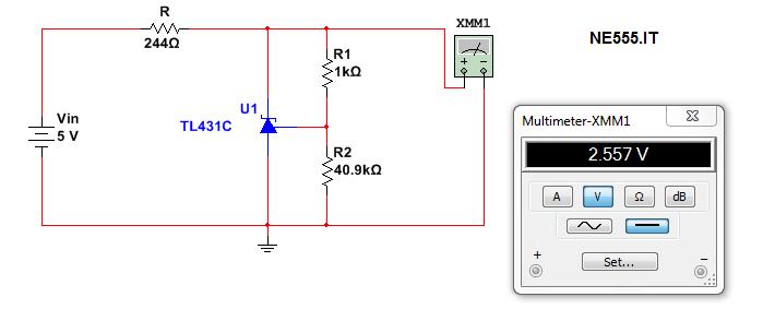 circuito per Vref 2,56V con tl431 e resistenze