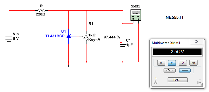 circuito per Vref 2,56V con tl431 e trimmer