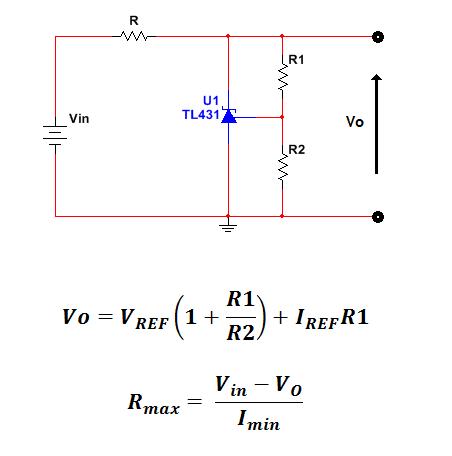 connessione ed equazioni per riferimento programmabile tl431