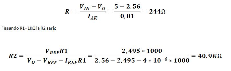 equazioni Vref 2,56V tl431