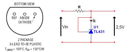 piedinatura e connessione tl431