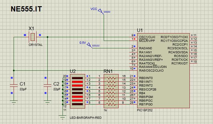 schema conversione ADC con libreria mikroc