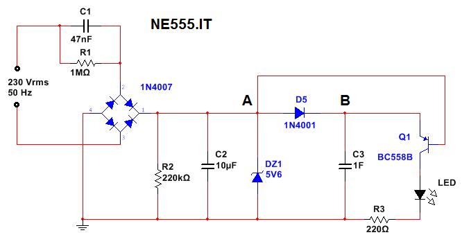 schema transistor led di emergenza