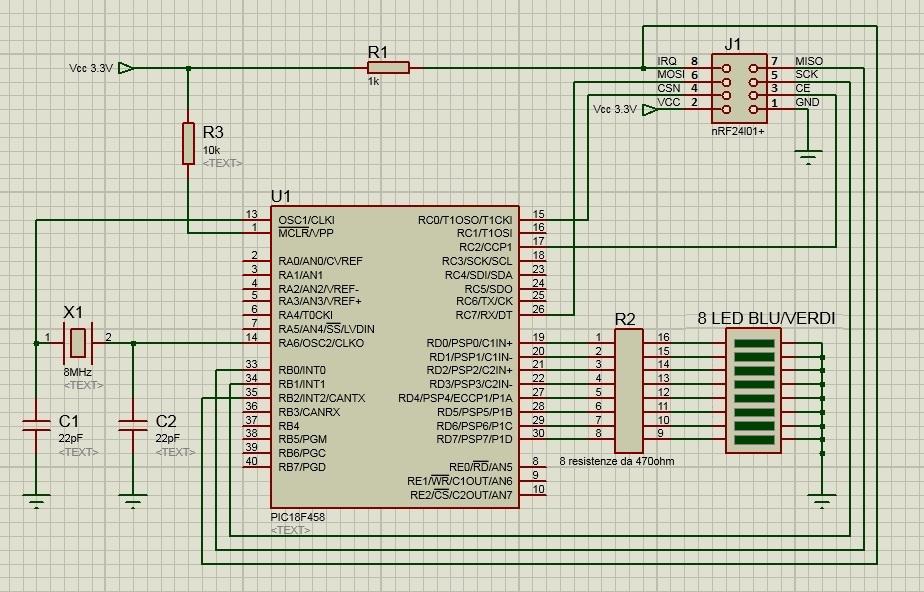 Nrf24L01+ SCHEMA ricevitore receiver RX