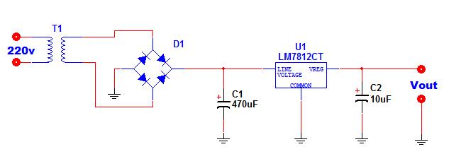 regolatore lineare con uscita nominale schema