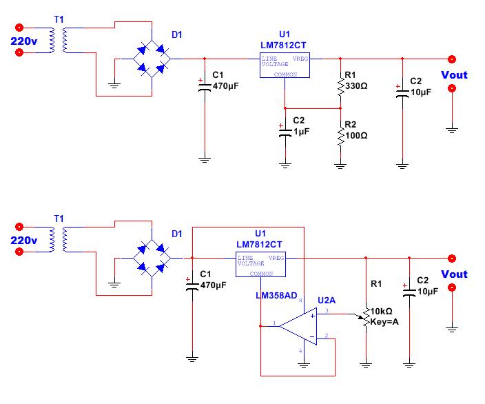 schema aumentare tensione 78xx con resistenze tensione variabile