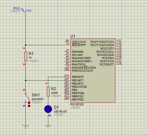 schema interrupt esterno pic18