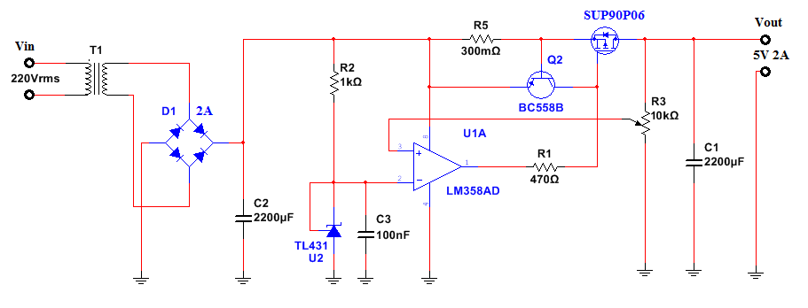 Alimentatore Regolabile da 0.5A a 20A con Protezione  schema