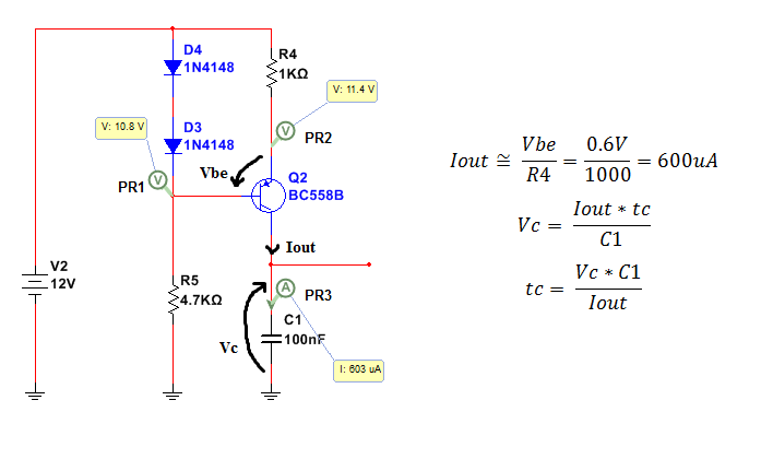 carica di un condensatore con generatore di corrente