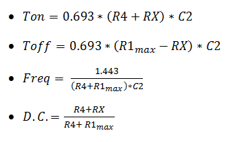 equazioni ne555 con duty cycle variabile 1% 99%