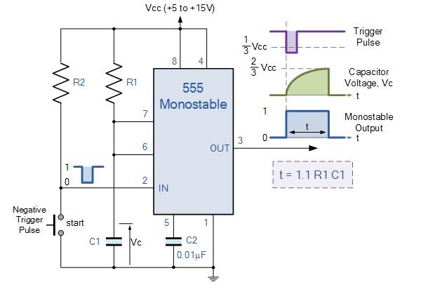 ne555 monostabile schema