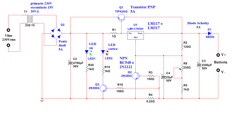 Schemi Elettrici Amplificatori Audio Con N : Schema caricabatteria piombo v