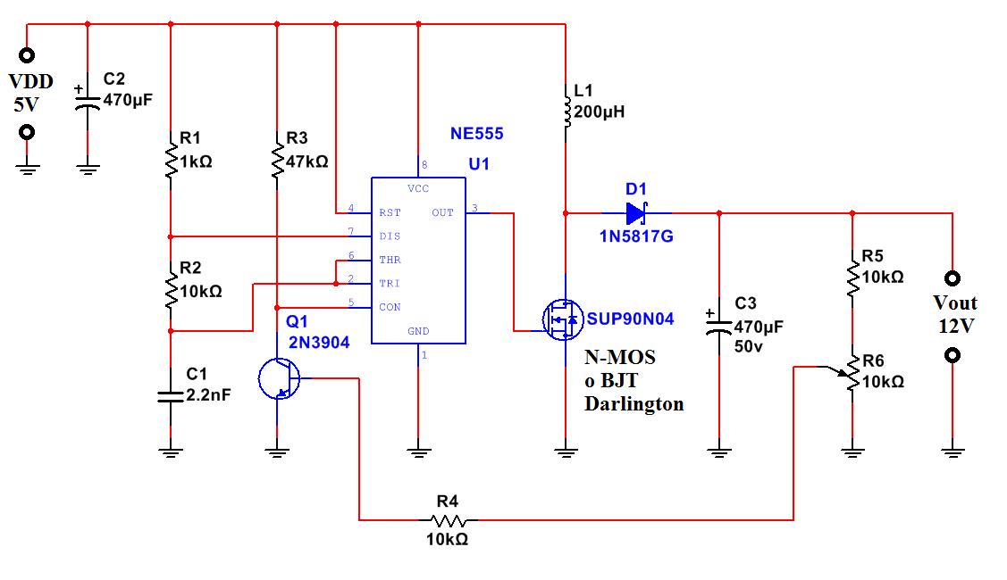 Schema Elettrico Regolatore Pwm : Elevatore di tensione v con ne