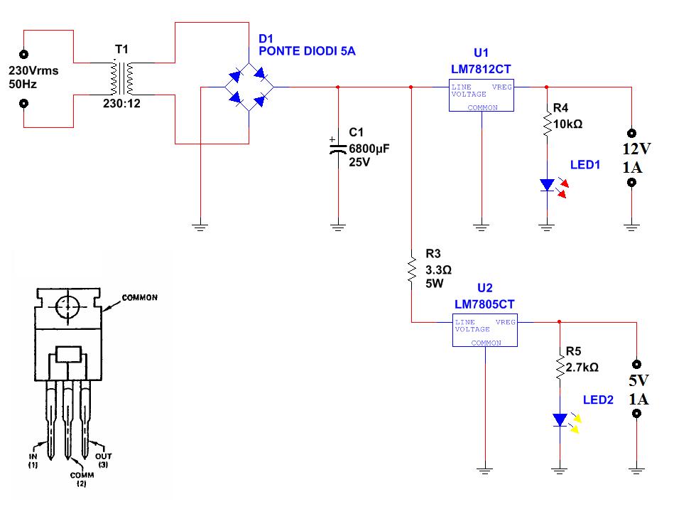 Alimentatore con uscite 5v e 12v ne555 for Costruire un temporizzatore 12v