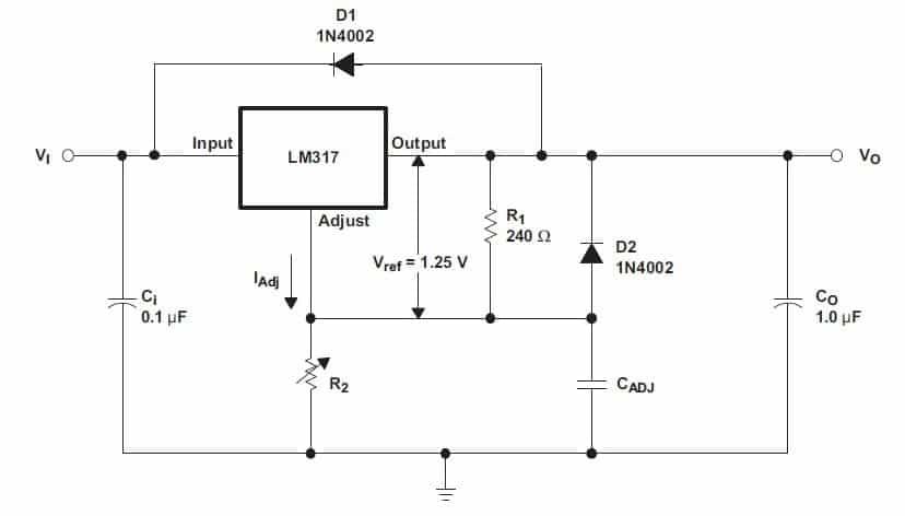 lm317 schema tipico regolazione tensione