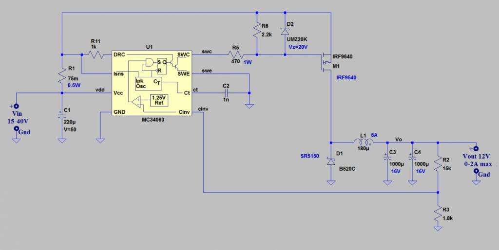 Schema Elettrico Alimentatore : Schema di circuito per la protezione da cortocircuito e